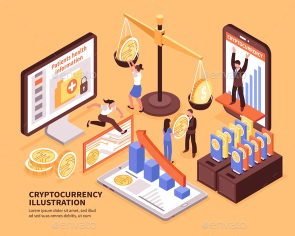 Cryptocurrency Isometric Illustration - Concepts Business
