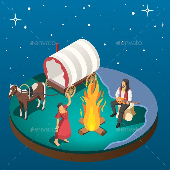 Gypsy Overnight Stay Isometric Composition - Animals Characters