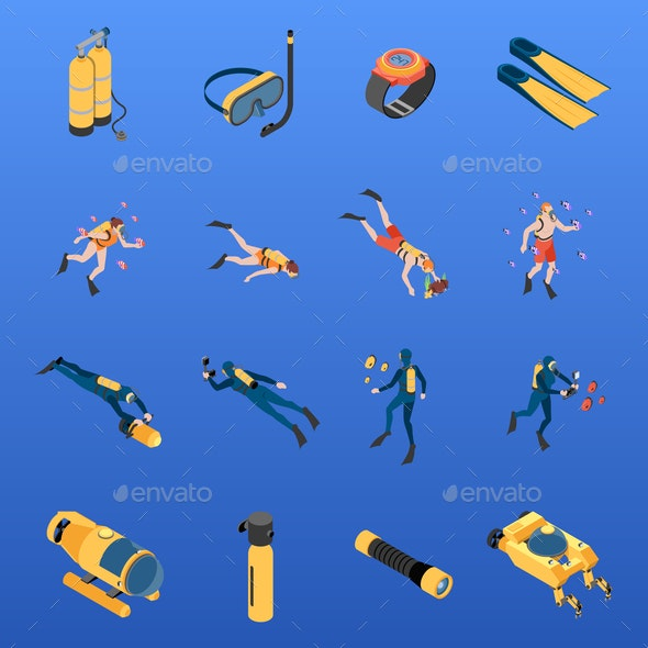 Diving Isometric Icons Set - Sports/Activity Conceptual