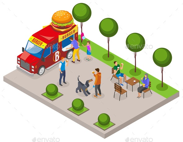 Street Food Burger Isometric Composition - Food Objects