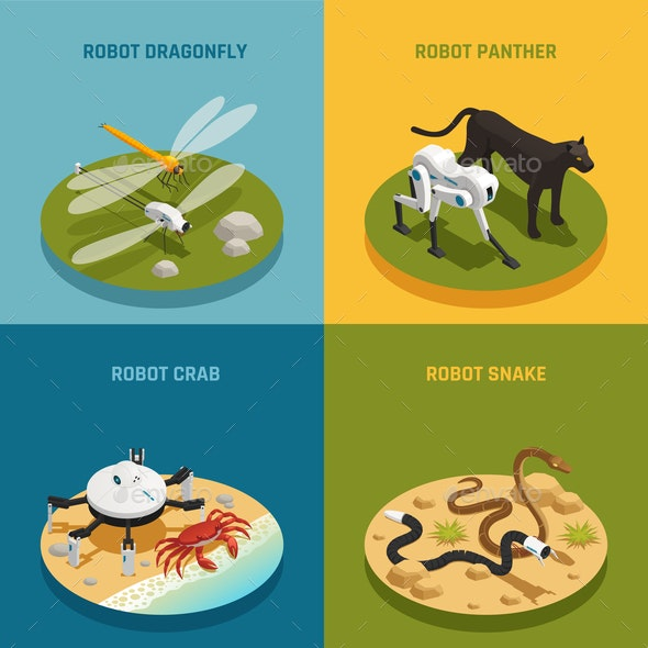 Bio Robots Isometric Design Concept - Computers Technology