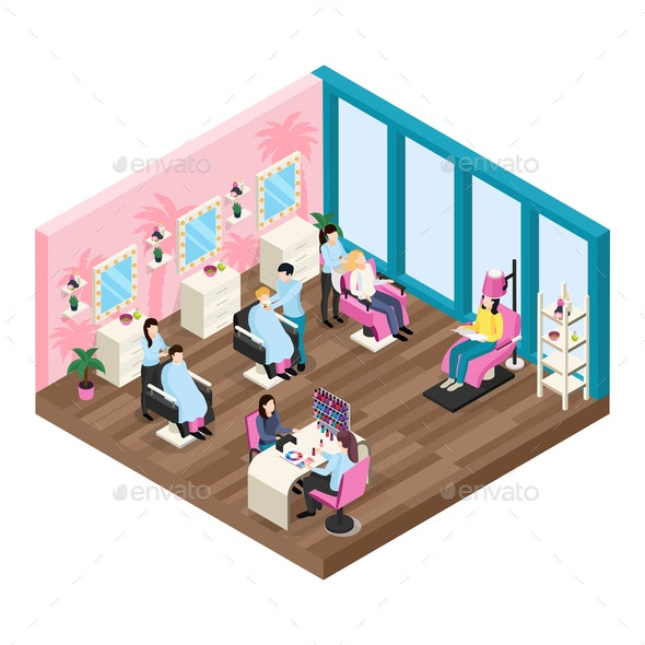 Beauty Salon Isometric Composition - Industries Business