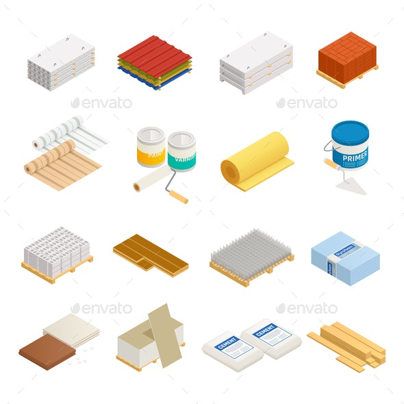 Construction Materials Icon Set - Industries Business