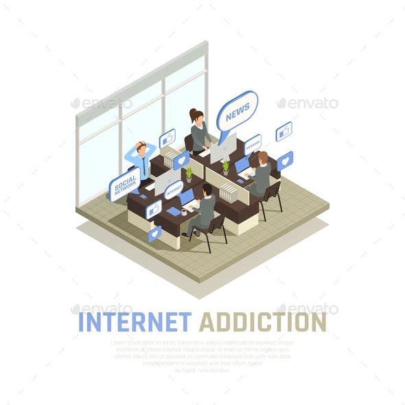 Internet Addiction Isometric Background - Computers Technology