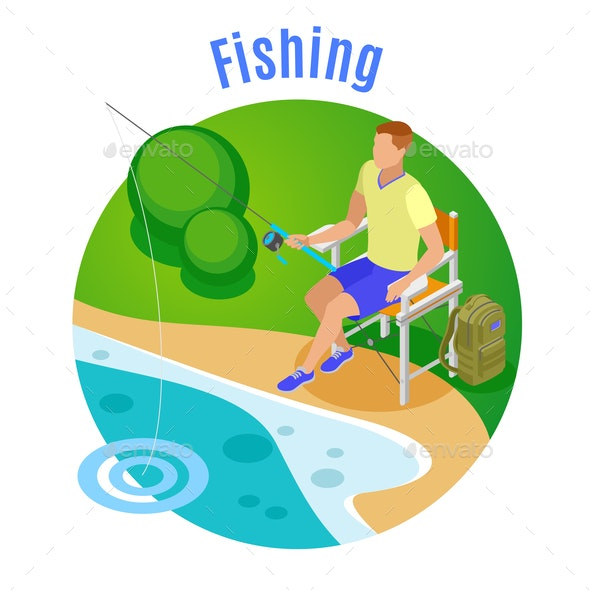 Fishing Isometric Composition - Sports/Activity Conceptual