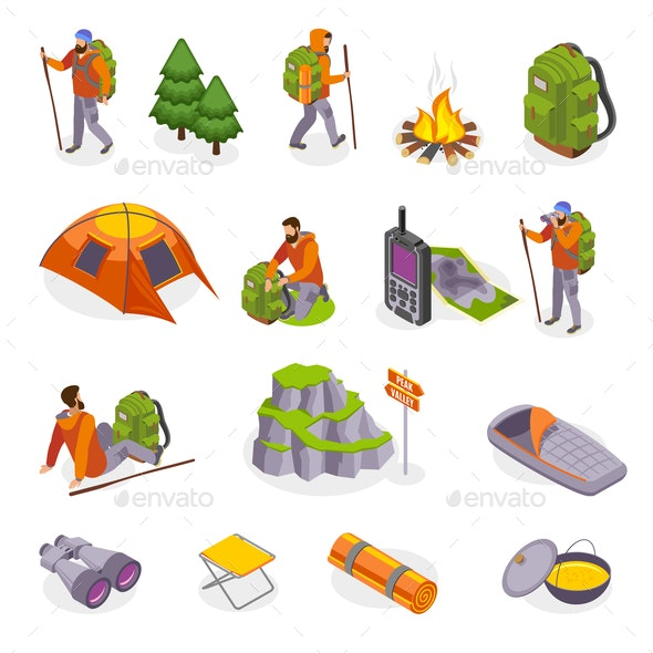 Campers Gear Icon Set - Sports/Activity Conceptual