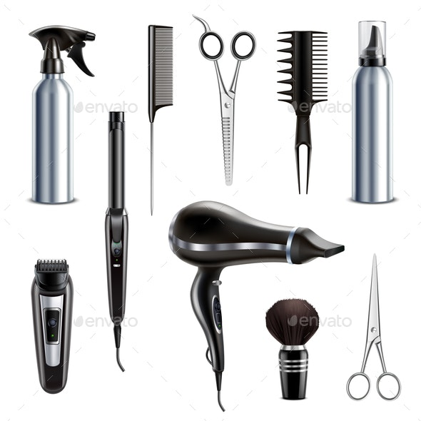 Hairdresser Tools Realistic Set - Industries Business