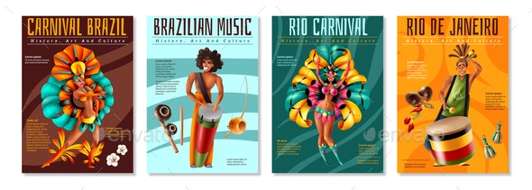 Brazil Carnaval Posters Set - Miscellaneous Seasons/Holidays