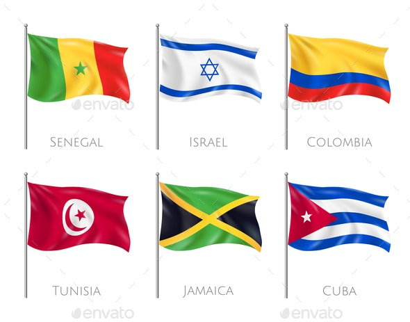 Country Flags Realistic Set - People Characters