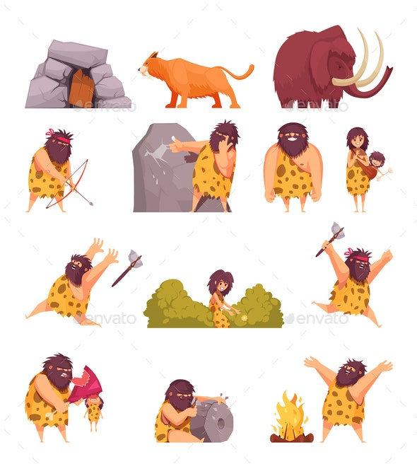 Primitive People in Stone Age - Miscellaneous Vectors