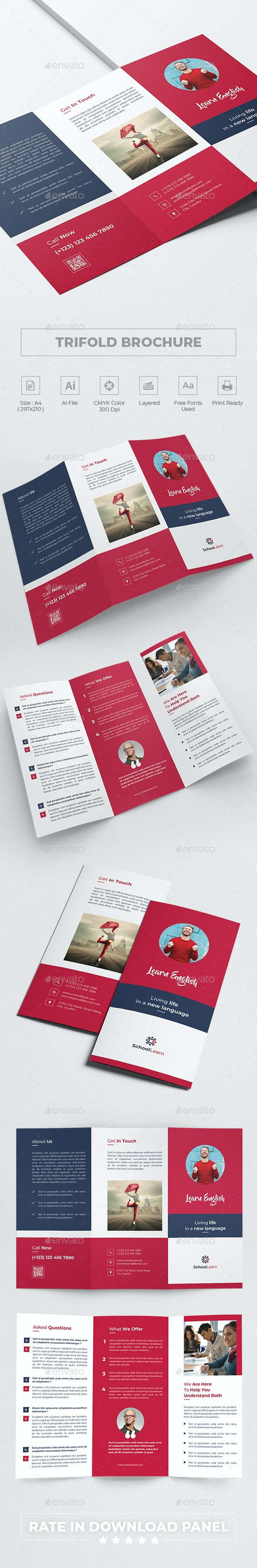 Learn Language Trifold Brochure - Informational Brochures