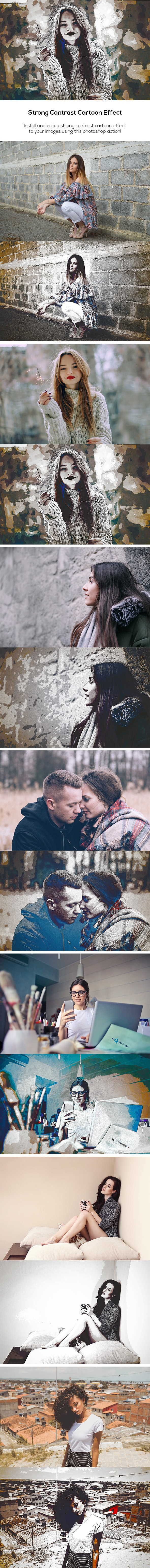 Strong Contrast Cartoon Effect - Photo Effects Actions