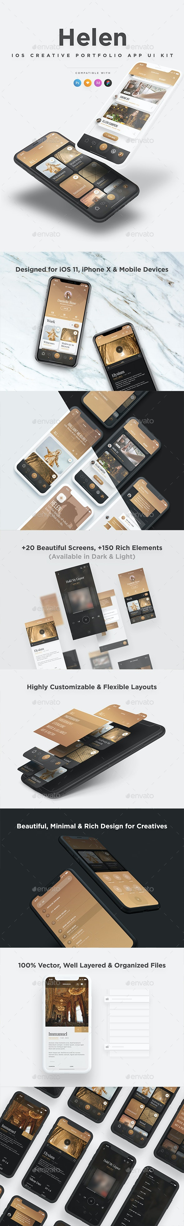 Helen iOS UI Kit - Elegant iOS Creative Portfolio UI Kit - User Interfaces Web Elements