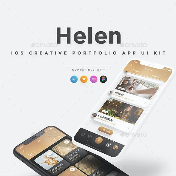 Helen iOS UI Kit - Elegant iOS Creative Portfolio UI Kit
