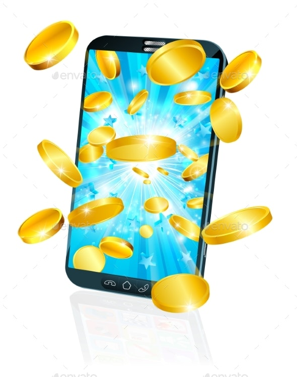 Mobile Cell Phone Flying Coin Money Concept - Technology Conceptual