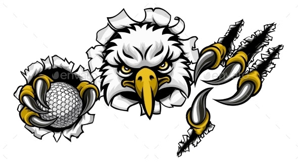 Eagle Golf Cartoon Mascot Ripping Background - Sports/Activity Conceptual
