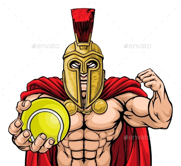 Spartan Trojan Tennis Sports Mascot - Sports/Activity Conceptual
