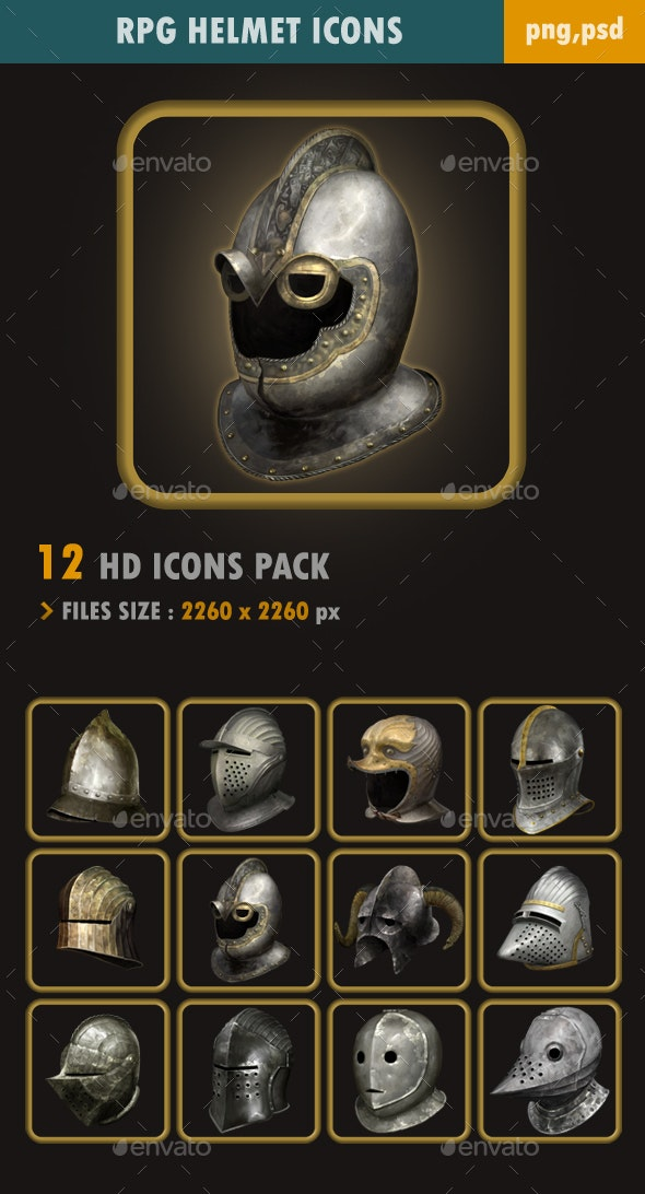 RPG Helmet Icons - Miscellaneous Game Assets