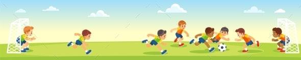 Boys Kicking Football on the Sports Field - Sports/Activity Conceptual
