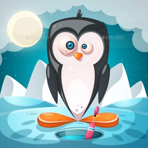 Winter Landscape Cartoon Penguin Character - Animals Characters