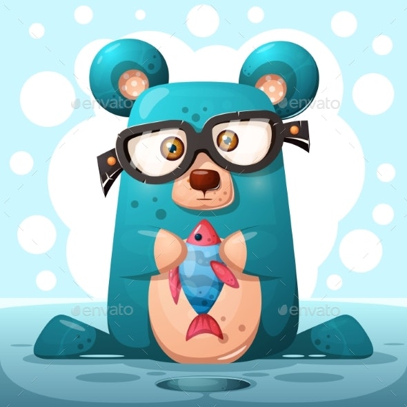 Glasses Bear with Fish - Animals Characters