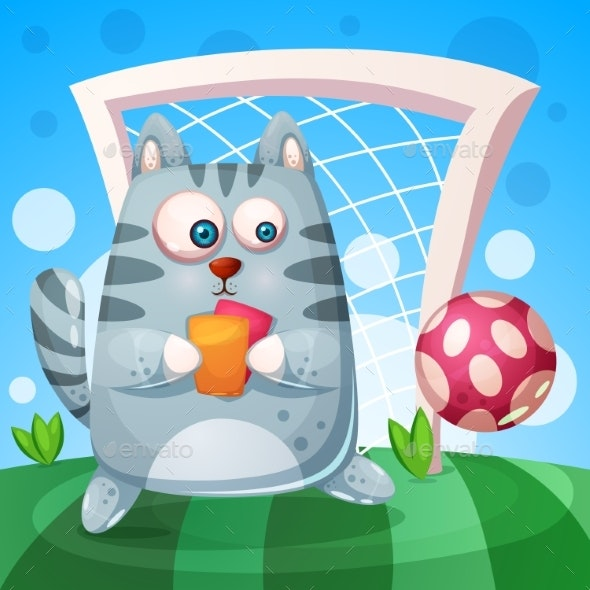Cat with Red and Yellow Cards - Animals Characters