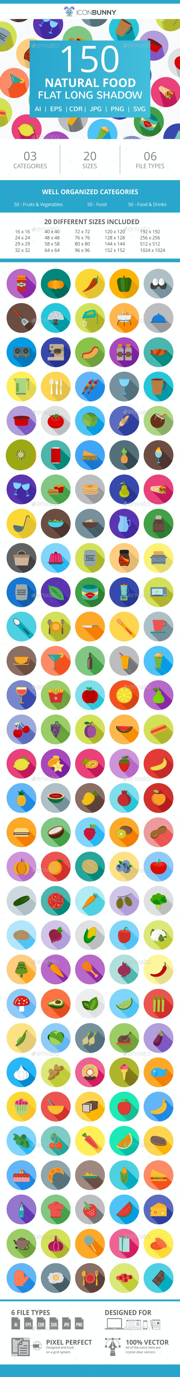 150 Natural Food Flat Long Shadow Icons - Icons