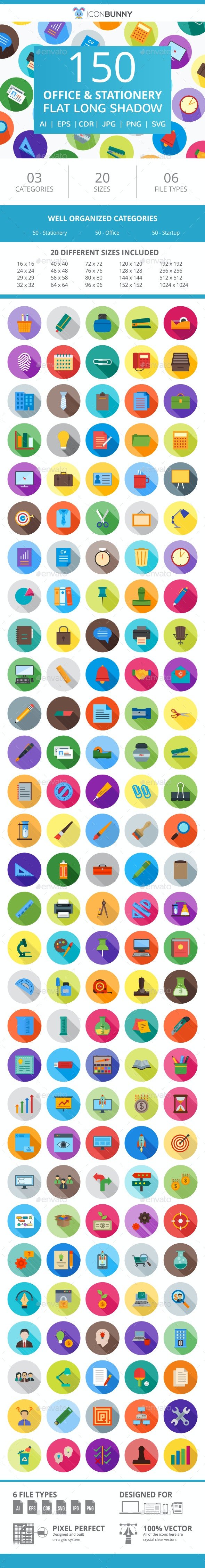 150 Office & Stationery Flat Long Shadow Icons - Icons