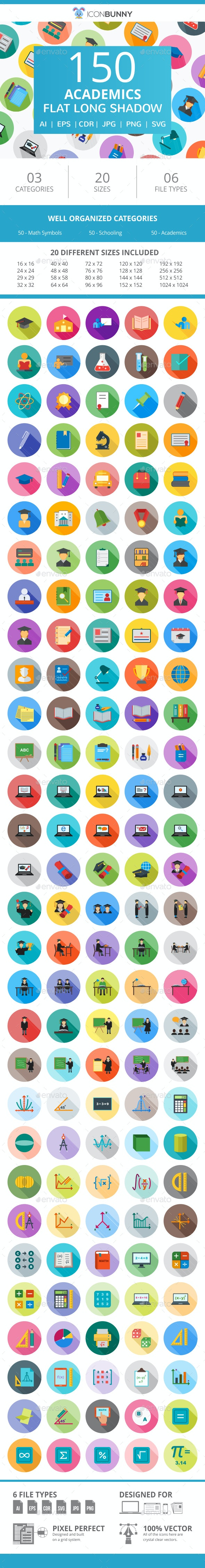 150 Academics Flat Long Shadow Icons - Icons