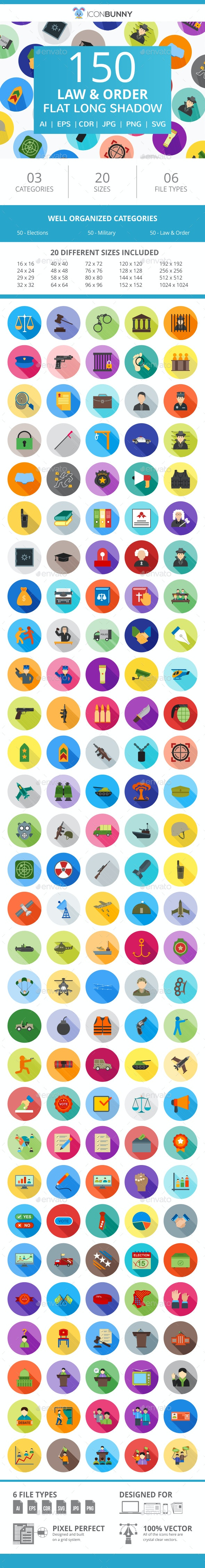 150 Law & Order Flat Long Shadow Icons - Icons