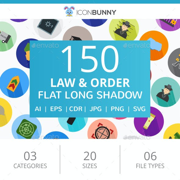 150 Law & Order Flat Long Shadow Icons