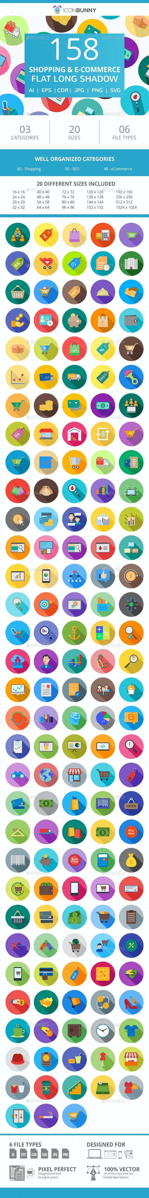 158 Shopping & E-Commerce Flat Long Shadow Icons - Icons