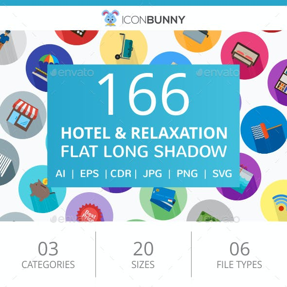 166 Hotel & Relaxation Flat Long Shadow Icons