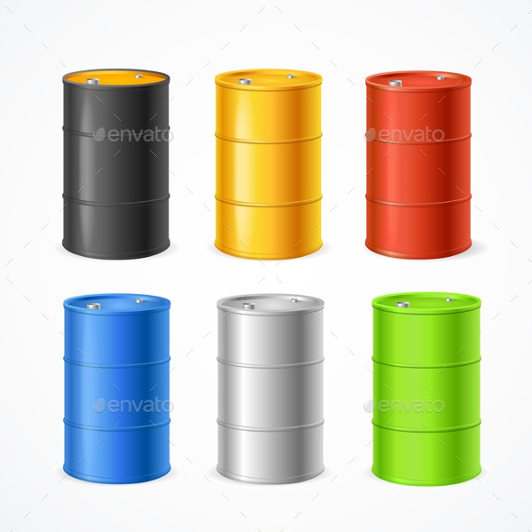 Realistic Color Barrels Set - Man-made Objects Objects