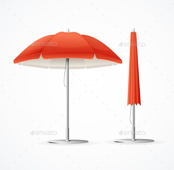 Red Summer Cafe Umbrella Set - Man-made Objects Objects