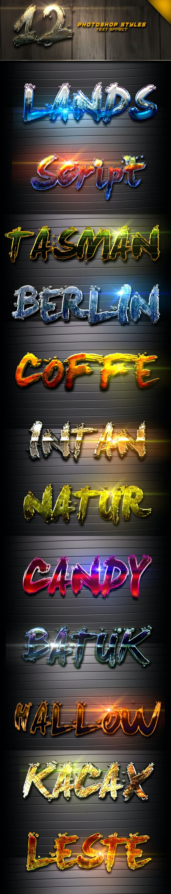 12 Photoshop text Effect Vol 4 - Text Effects Styles