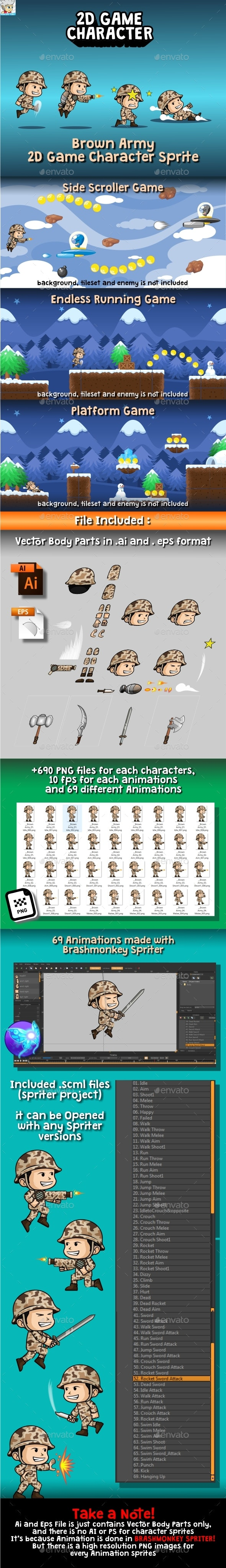 Brown Army 2D Game Character Sprite - Sprites Game Assets