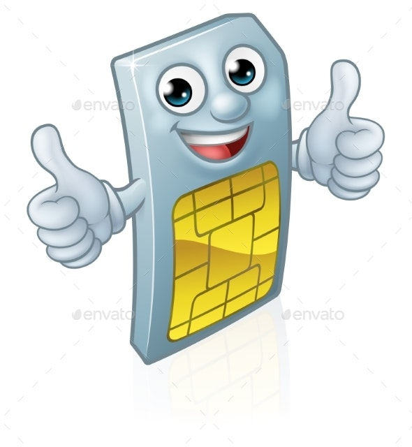 Mobile Phone Sim Card Mascot Cartoon - Miscellaneous Characters