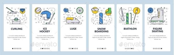Web Site Onboarding Screens Winter Sport - Sports/Activity Conceptual