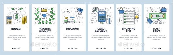 Web Site Onboarding Screens Shopping and Sales - Web Elements Vectors