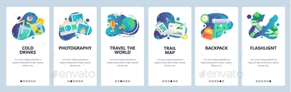 Web Site Onboarding Screens Holiday Travel Icons - Travel Conceptual