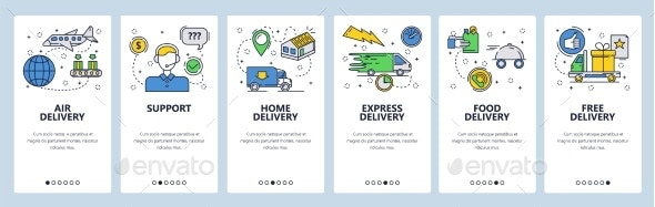 Web Site Onboarding Screens Home Express and Air - Web Elements Vectors