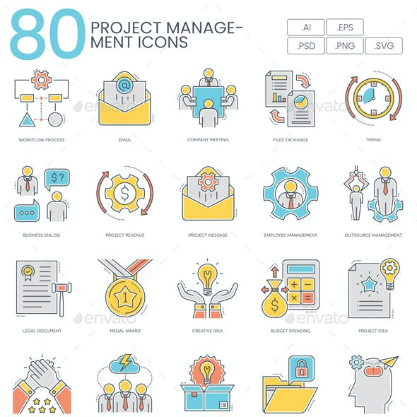 Project Management Icons - Color Line