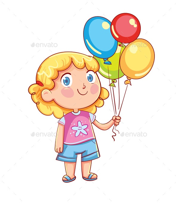 Girl Holding Colorful Balloons - People Characters