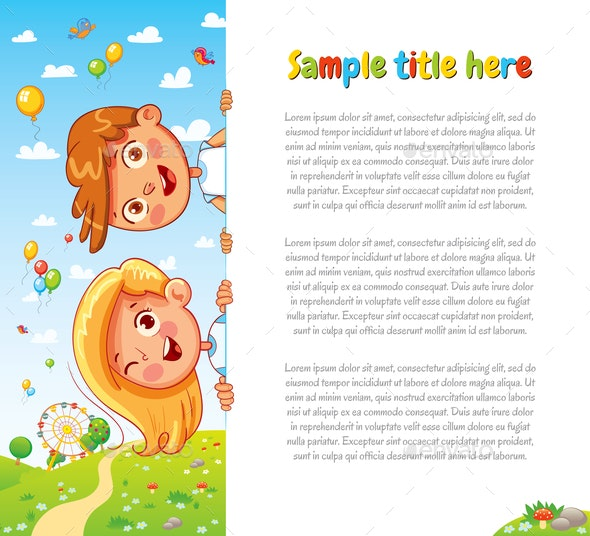 Children Holding Blank Page - People Characters