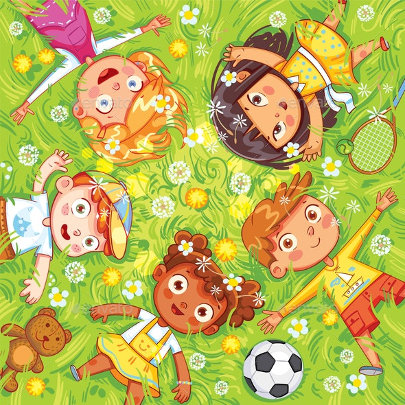 Children Lay on the Meadow - People Characters