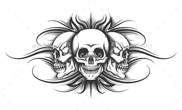 Three Skulls Tattoo Illustration - Tattoos Vectors