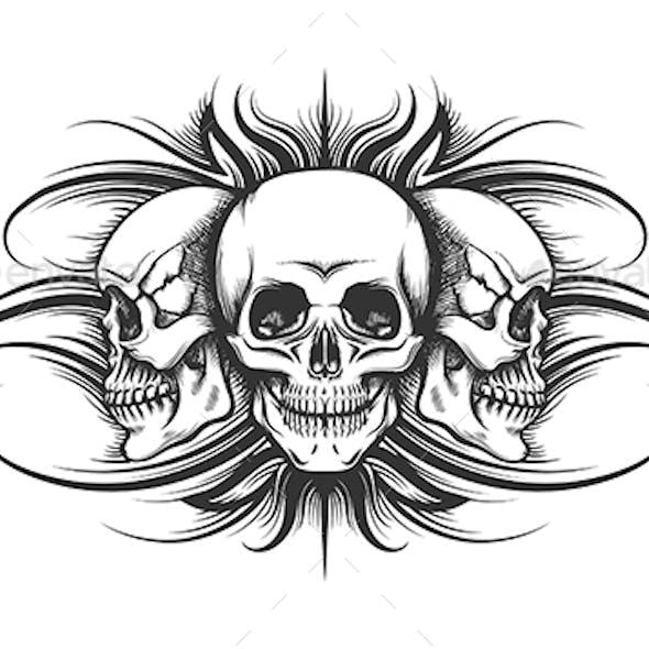 Three Skulls Tattoo Illustration
