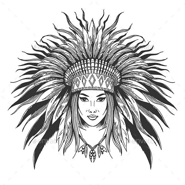 Girl in War Bonnet - Tattoos Vectors