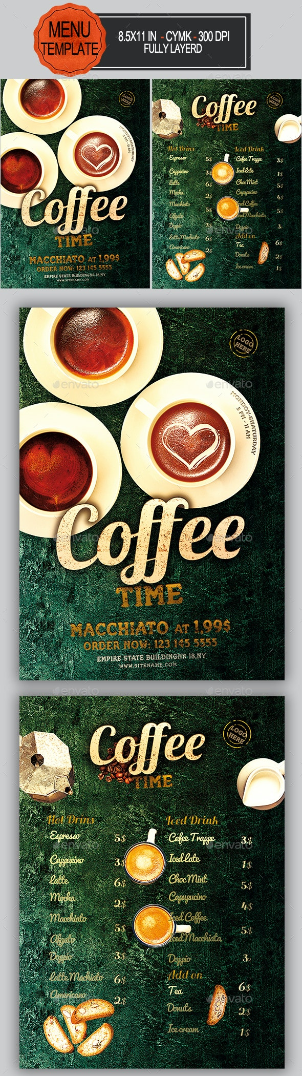 Coffee Menu - Food Menus Print Templates